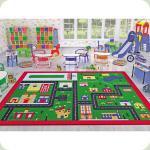 Килим в дитячу кімнату Confetti - Town зелений 133*190