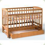 Ліжко дитяче на шарнірах з шухлядою  з відкидною боковиною (1200*600)(бук)