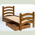 Ліжко одноярусне з фігурними бильцями (1900*800) (бук) з шухлядами