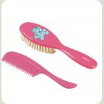 Щітка і гребінець для волосся BabyOno М'яка Рожевий (568)