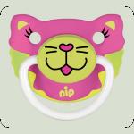 Силіконова пустушка Nip Веселі тварини №2 5-18 міс. Кішечка і Мишка бірюзовий (31500)