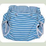 Тканинний підгузник на кнопках Смуги блакитний / білий